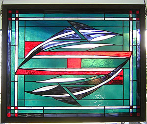 Don Quackenbush stained glass, Orcas