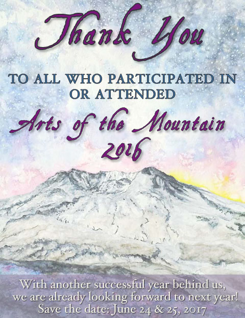 Thank You for making the 2016 Arts of the Mountain a huge success!